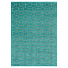 Bring a vibrant pop of style to your living room or master suite decor with this eye-catching rug, showcasing a geometric tiled motif in a lovely aqua palett...