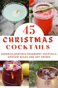 Over 45 Christmas Cocktails including Christmas Martini Recipes, Christmas Moscow Mule recipe, many Pomegranate, and Cranberry Cocktail recipes and even yummy Hot Christmas Drinks. #ChristmasCocktails #ChristmasCocktailRecipes #ChristmasMartiniRecipes #CranberryCocktails ChristmasMoscowMuleRecipe #myturnforus #HotChristmasDrinks Christmas Martini, Christmas Cocktails, Martini Recipes, Cocktail Recipes, Drink Recipes, Best Christmas Recipes, Holiday Recipes, New Years Day Meal, Moscow Mule Recipe
