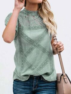 Shop a great selection of WLLW Women Cute Lace Blouse Tops Short Sleeve Lace Hollow Out Turtle Neck Shirt. Find new offer and Similar products for WLLW Women Cute Lace Blouse Tops Short Sleeve Lace Hollow Out Turtle Neck Shirt. Floral Tops, Lace Tops, Floral Shirts, Floral Lace, Lace Blouses, Bohemian Tops, Moda Boho, Turtleneck Shirt, Mode Shop