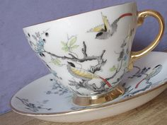 Antique Royal Grafton oriental birds tea cup set, vintage English tea cup and saucer, bone china tea set, hand painted tea cup