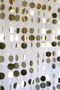 Oriental Beautiful Beaded Curtain Acrylic Mixed Strand Curtains Light Gold And Crystal Metallic Silver Circles