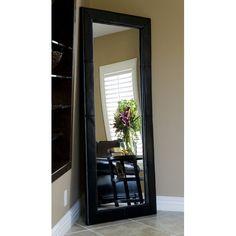 Abbyson Living Delano Dark Brown Leather Floor Mirror   Overstock ...