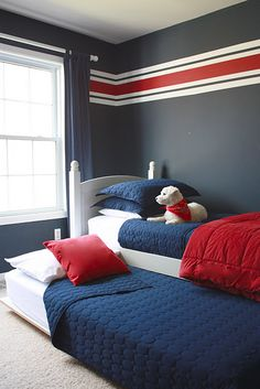 A safer solution to bunk beds in a boys room. DIY trundle bed, made from an old set of bunk beds, and inexpensive supplies from any home store. Photos and basic instructions, as well as supplies cost, etc. Bedroom Red, Kids Bedroom, Bedroom Decor, Bedroom Ideas, Kids Rooms, Boys Room Paint Ideas, Bed Ideas, Small Rooms, Decor Ideas