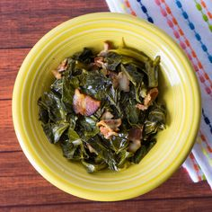 Pressure Cooker Collard Greens with Bacon recipe. Tender greens and smoky bacon, cooked in 30 minutes in the pressure cooker.