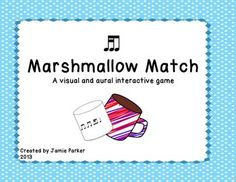 """This interactive game is great for practicing Tika-Ti (two sixteenth notes/eighth note). It is much like """"Which One Do You Hear?"""" except with a winter theme. Students will click a cocoa mug on each page to hear a rhythm and then match it to its corresponding marshmallow rhythm pattern. Sound files of the rhythm patterns are included. Follow me on TpT for """"Followers Only Freebies!"""""""