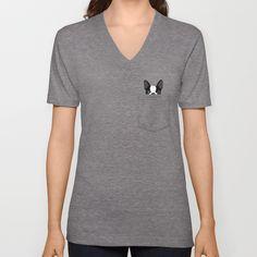 [SOCIETY6.COM] $24.00 - Buy Pocket Boston Terrier V-neck T-shirt by Anne Was Here. [Athletic Grey - Unisex V-Neck T-Shirt - 2X-LARGE]