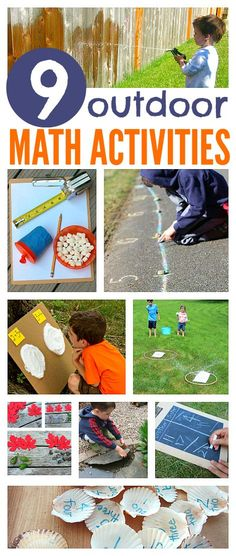 9 FUN outdoor math activities for kids - so many great learning activities for preschool and kindergarten age kids for summer Frugal Summer Activities, Summer Kids Activities Math Activities For Kids, Math For Kids, Fun Math, Educational Activities, Summer Activities, Summer Games, Outdoor Preschool Activities, Preschool Math Games, Math Art