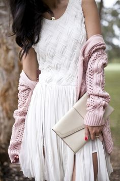 white dress pale, pink sweater