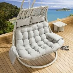 The 161 best Quality designer garden furniture images on Pinterest Outdoor Rattan 2 Person Garden Hanging Chair   Sunbed Stone   Grey New