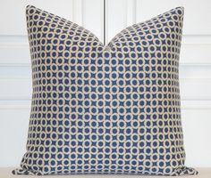 Decorative Pillow Cover  -  Blueberry - Medium  Blue and ivory - Accent Pillow - Throw Pillow - Geometric - Modern Design