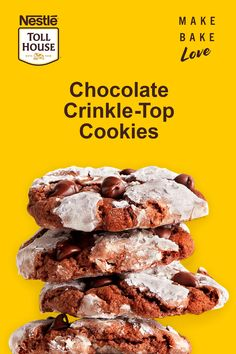 Nestle Toll House Semi-Sweet Chocolate Morsels are the perfect addition to all of your holiday treats! Bake these Chocolate Crinkle-Top Cookies by melting our chocolate chips and mixing it in to the cookie dough. Finish it off with powdered sugar and these delicious cookies are ready to eat! Click through for the full recipe!