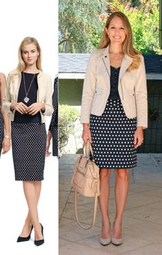 The Everyday Fashion: The Petite Skirt: polka dot skirt, top, tan/beige jacket Layering Outfits, Basic Outfits, Blazer Outfits, Summer Work Outfits, Spring Outfits, Js Everyday Fashion, Meeting Outfit, Blazers, Work Attire