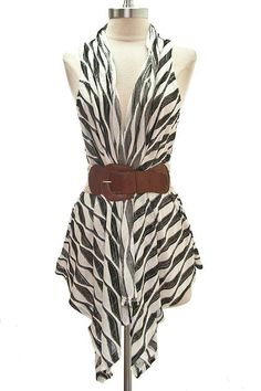 Take this sleeveless vest from day to night with its stylish pattern reminiscent of a zebra design. $24.99