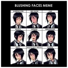 The many expressions of Sebastian Michaelis Sebastian X Ciel, Black Butler Sebastian, Black Butler Ciel, Black Butler Kuroshitsuji, Black Butler Pluto, Black Butler Comics, Black Butler Funny, Black Butler Quotes, Blushing Anime