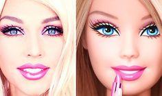 Doll Eye Makeup Barbie Doll Makeup Transformation How To Do Barbie Makeup Tutorial Barbie Make-up, Barbie Und Ken, Make Up Barbie, Barbie House, Doll Eye Makeup, Costume Makeup, Makeup Eyes, Barbie Halloween Costume, Halloween Makeup