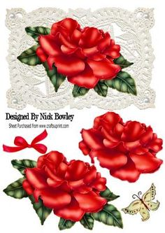 Pretty red rose on vintage lace with pearls bow on Craftsuprint - Add To Basket!
