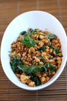 Basil Chicken (Gai Pad Krapow) recipe - chicken, garlic, shallots, Thai basil leaves, jalapeno. #thai #chicken #takeout