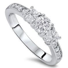 1.00 cttw Diamond 3 Three Stone Engagement Ring 10K White Gold - http://www.loveuniquerings.com/3-stone-diamond-rings/1-00-cttw-diamond-3-three-stone-engagement-ring-10k-white-gold/