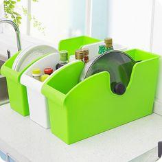 Multifunctional Plastic Upscale Kitchen Storage Box with Wheels Finishing Dishes Pot Rack