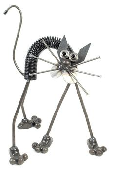 Scared Cat Sculpture. Shown here with his back arched up and legs sprawled out. A humorous and delightful piece. Made of metal.