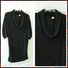 ONE DAY SALE Black & gray, cowl, batwing sleeves, stretchy material, long elastic waist to fit over hips. Rhapsody Sweaters Cowl & Turtlenecks