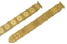 Etruscan Revival Gold Plaque Bracelet
