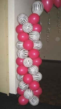 Zebra Birthday Party Ideas-Teal and Zebra balloon arch