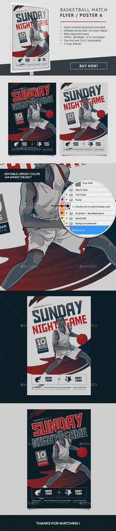 basketball match flyer template 6