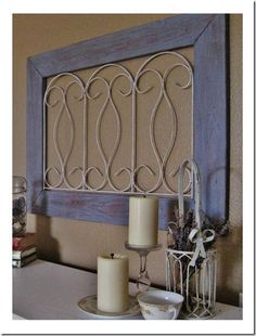 Pottery Barn's Blue Gate Wall Art...or maybe a diy with pallet wood and dollar store wire fencing? so easy to make ;)