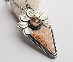 Silver Fossilized Coral Necklace by EONDesignJewelry