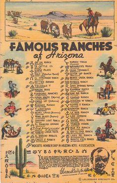 Arizona Vintage Linen Postcard - Famous Ranches of Arizona (Unused) Vintage Arizona 1941 Linen Postc Vintage Travel Posters, Vintage Postcards, Vintage Ephemera, Wells, Danse Country, Agriculture, Arizona History, Charro, Arizona Travel