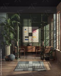 Vintage Room (Made in Cinema and Octane) 3d Interior Design, Modern Interior, Interior Architecture, Interior And Exterior, Dream Home Design, House Design, Design Design, Graphic Design, Bauhaus Interior