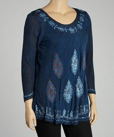 Take a look at this Navy Embroidered Tunic by India Boutique on #zulily today!