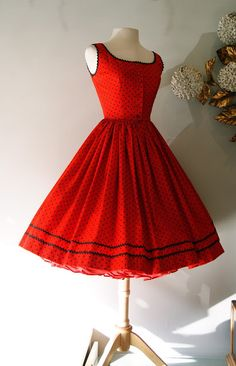 This is a genuine Lanz dress.  The IN thing to wear in Los Gatos California in the '50's.  Of course, they were expensive, and not every girl could afford it.