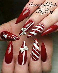 Red and White Ombre Christmas Inspired Stiletto Nails   Christmas ...