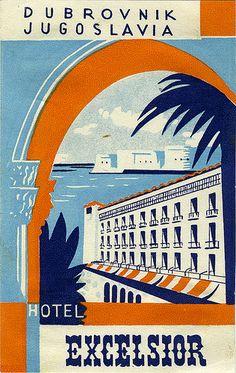 Hotel Excelsior - Dubrovnik, Yugoslavia - Vintage Travel Poster