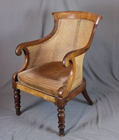 OnlineGalleries.com - Regency Mahogany Bergere Library Chair