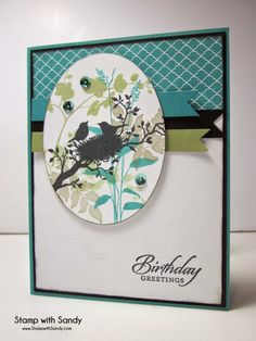 Stampin' Up! ... handmade birthday card ... luv the sophisticated color combo ... oval focal point die cut, edge sponged and popped up ... silhouette bird nest ... great card!!