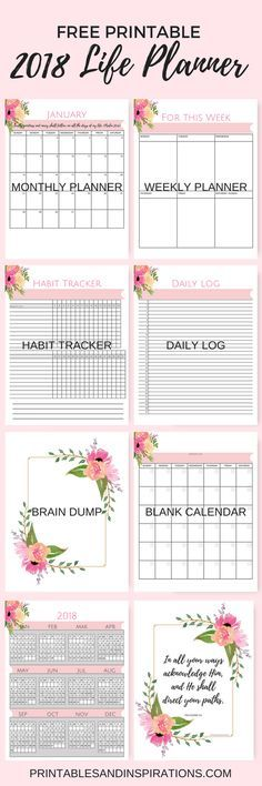 printable 2018 calendar, Free pink calendar, life planner, weekly planner, habit tracker, daily log, journal, brain dump, inspirational, floral
