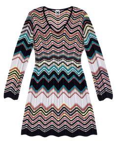 M Missoni Multicolor Wool Long Sleeve ZigZag Patterned Open Knit Dress US10 IT46   eBay