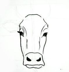 Cow Eyes, Cow Face, Cow Drawing Easy, Easy Drawings, Human Face Drawing, Drawing Faces, Drawing Drawing, Cow Sketch, Cow Painting