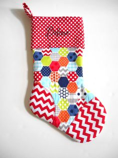 Baby Boy Cuffed Christmas Stocking by Kristens Coverlets featuring Riley Blake Designs Hexi, Chevron and Dot Basics #hexi #hexigon #rileyblakedesigns #dot #chevron #christmas #stocking