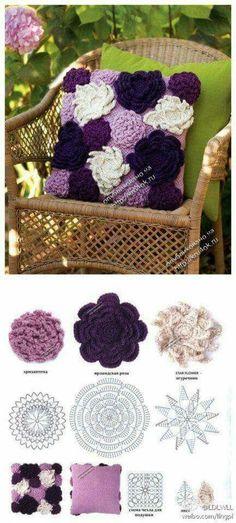 Crochet Flower Pillow I can do this Crochet Diy, Crochet Motifs, Crochet Flower Patterns, Crochet Home, Love Crochet, Crochet Granny, Irish Crochet, Crochet Crafts, Crochet Flowers