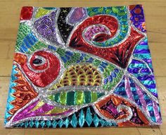 Another version of the aluminum foil glued over yarn colored with Sharpie marker composition