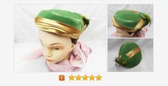 #Vintage #CocktailHat Green Gold Ladies #Velvet Satin #Feather #gotvintage #etsy #fashion