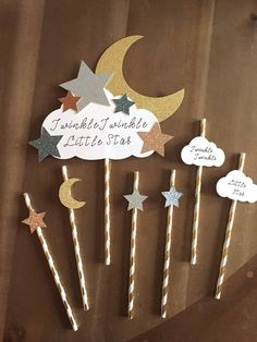 Baby Showers Twinkle Twinkle Little Star Gender Reveal Baby Shower Decor Gender Star Baby Showers, Gold Baby Showers, First Birthday Parties, First Birthdays, Balloon Decorations Party, Baby Shower Cake Decorations, Diy Birthday Banner, Star Cakes, Star Party