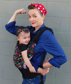 Super simple costume idea, and of course Rosie the Riveter was a babywearer!