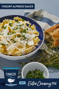 Indulge in the Extraordinary with Oikos Extra Creamy. You& love this yogurt Alfredo sauce recipe with Oikos yogurt! Sauce Recipes, Pasta Recipes, Great Recipes, Whole Food Recipes, Dinner Recipes, Favorite Recipes, Potato Recipes, Healthy Eating Recipes, Healthy Snacks