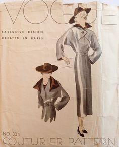 Vintage 1930s Vogue Couturier Pattern 334 by NostalgiaVintage2
