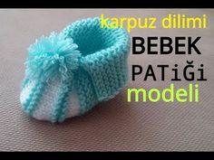 karpuz dilimi bebek patiği yapılışı( अनुवाद में anuvaad mein) in translation // Maria Franco Crochet Baby Boots, Knit Baby Booties, Crochet Cap, Baby Patterns, Knitting Patterns, Crochet Patterns, How To Make A Pom Pom, Crocodile Stitch, Learn How To Knit
